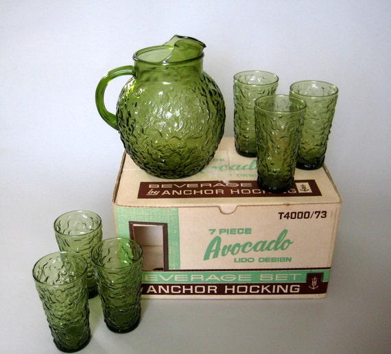 RESERVE for dianaashe Pitcher and Glasses, Green, Anchor Hocking