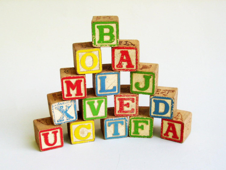 Alphabet blocks wooden toy children by