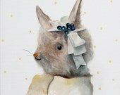 Miss Bunny is so Happy. pastel original wall art. whimsical painting by inameliart