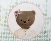 Teddy bear portrait in pink bow .Nursery art. original painting by inAmeliart