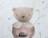 I baked a cake for YOU today.Nursery art. original painting by inAmeliart