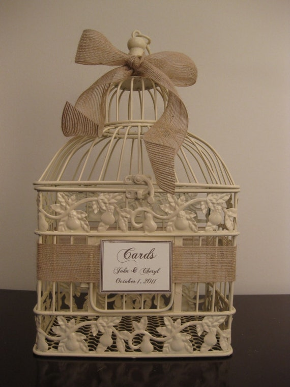 Birdcage For Wedding Gift Cards : ... Ribbon / Wedding Card Box Bird Cage Card Holder / Wedding Birdcage