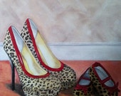 "Original Acrylic painting on canvas ""Like Mother, Like Daughter"" shoe picture"