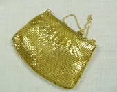 Vintage Evening Purse Gold Metal Mesh Chain Shoulder Strap Bag Retro Bridal Bride Wedding Accessories Gift Guide Women