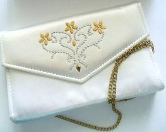 Purse White Glam Clutch Bride Wedding Bridal Party Prom Flower Girl Gift