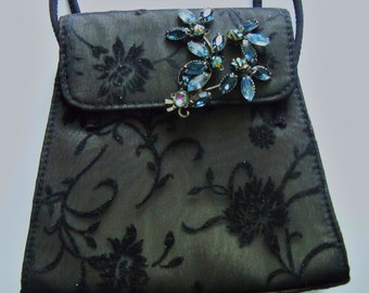 Black Purse Assemblage Redesigned Liz Claiborne Blue Rhinestone Brooch Wedding Accessories Bridal Party Prom Gift Guide Women