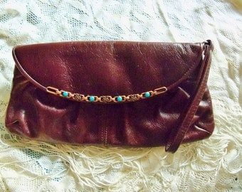 Purse Signed Aldo Brown Leather Clutch Copper Trim Everyday Work Restyled Assemblage Redesigned Gif the Guide Women
