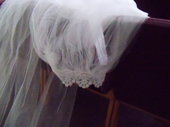 Handmade Veil Cathedral Length with Scalloped Lace Edging Bride Wedding