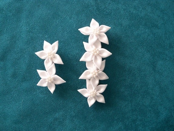 White Flowers Barrette Set Bride Bridesmaid Flower Girl Wedding Prom Party Special Occasion Gift