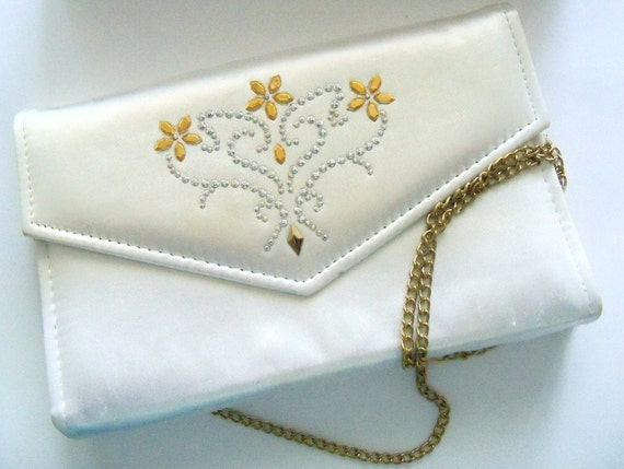 Purse White Restyled Glam Clutch Bride Wedding Bridal Party Prom Flower Girl Gift Idea Mom