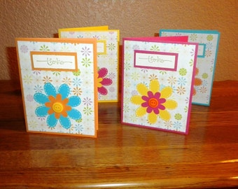 4 thank you cards with flower