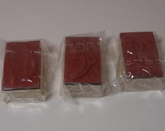 Football, Lizard, Fingerprint BRAND NEW Wood Mounted Rubber Stamps - Lot of 3