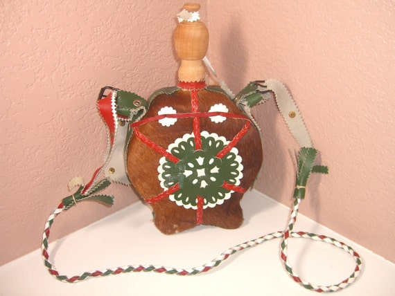 Vintage Canteen/Water Bottle - Green & Red Leather w/animal hide covering