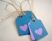 Purple Hearts Gift tags, wedding Favor Tags, Bridal Shower Gift tags, Friendship Gift tags, Blue and Purple Gift Tags, Qty. 12