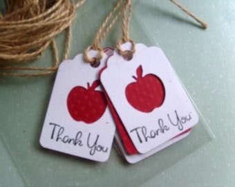 Personalized Thank You Teacher Gift Tags- Red Apple Gift tags- THANK YOU-  School Days Thank You Tags- Little Gift Tags- Qty. 12