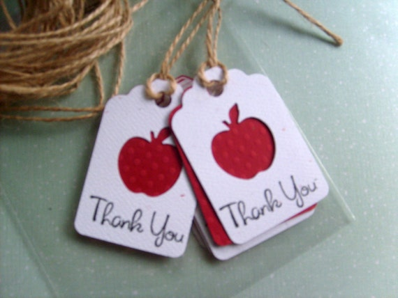 50 Thank You Teacher, Little Red Apple lovers Gift tags, THANK YOU stamp, End Of school Gifts, Red Apple Shower Favor Tags,Big Apple Wedding