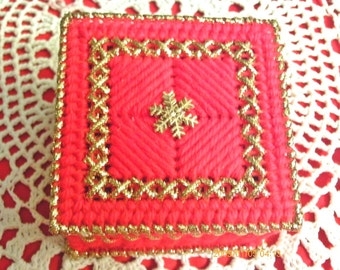 Red And Gold Snowflake Trinket Box