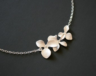 Triple Orchid Necklace Sterling Silver - wedding jewelry, bridesmaid gift, birthday anniversary gift, floral flower necklace, gifts for her