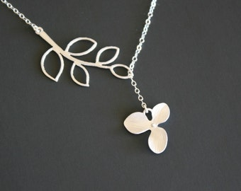 Leaf Branch with Orchid Flower Lariat Y Necklace - Silver or Gold - wedding bridal jewelry, bridesmaid gift, mother's day, birthday gifts