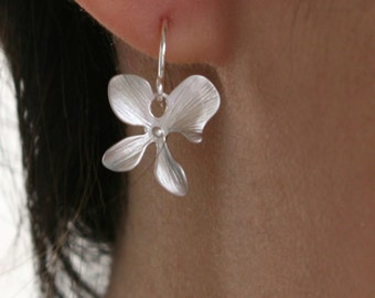 Four Pedals Orchid Flower Earrings Sterling Silver - Wedding jewelry, delicate simple earrings, birthday gifts