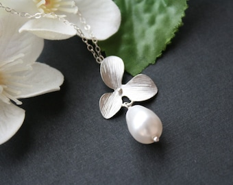 Orchid Flower With Pearl Necklace - wedding bridal jewelry, bridesmaid gift, flower girl necklace, birthday Mothers day gift ideas