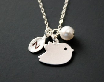 Personalize bird and initial necklace - Sterling Silver