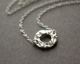 Hammered circle sterling silver necklace