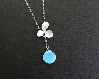 Blue Briolette Orchid Flower lariat Necklace - wedding jewelry, aquamarine necklace, birthday Christmas gifts for daughter, mother, her