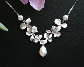 Orchid necklace with pearl drop, sterling silver chain - wedding jewelry, bridal jewelry, flower necklace