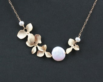 Sweet heart pearl coin orchid Necklace - Gold filled chain - wedding jewelry, bridal jewelry, bridesmaid gift