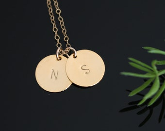 Two initial discs necklace 14k gold filled chain - couple friendship necklace, initialed engraved necklace, birthday mothers day gifts