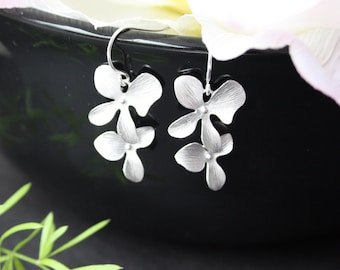 Double Orchid flower earrings - Sterling silver, Birthday anniversary gift, wedding bridal jewelry, bridesmaid gifts favor, two orchids
