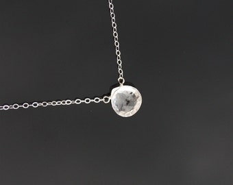 Dew drop necklace - Clear Swarovski crystal, STERLING SILVER, briolette gemstone, simple delicate short necklace, romantic gift for mom