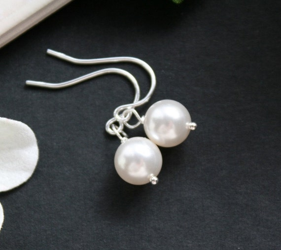 Pearl Earrings Sterling Silver - white ivory light pink mauve pearl - wedding bridal jewelry gift favor, simple everyday wear, birthday gift