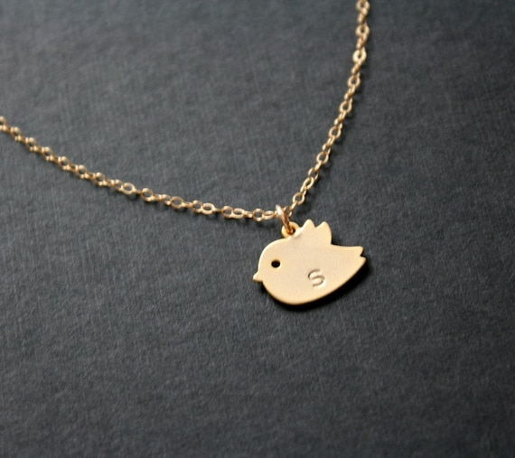 baby bird initial necklace - Gold filled Sterling Silver chain, simple necklace, engraved, personalize, monogrammed