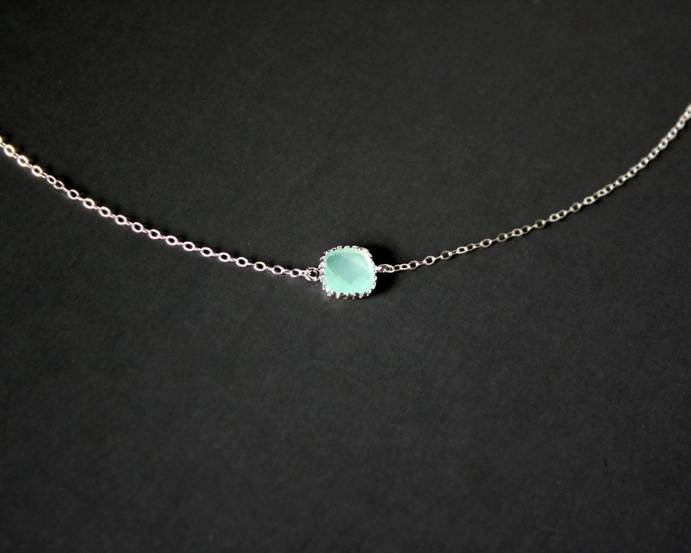 Petite Teal Crystal Necklace Sterling Silver simple necklace