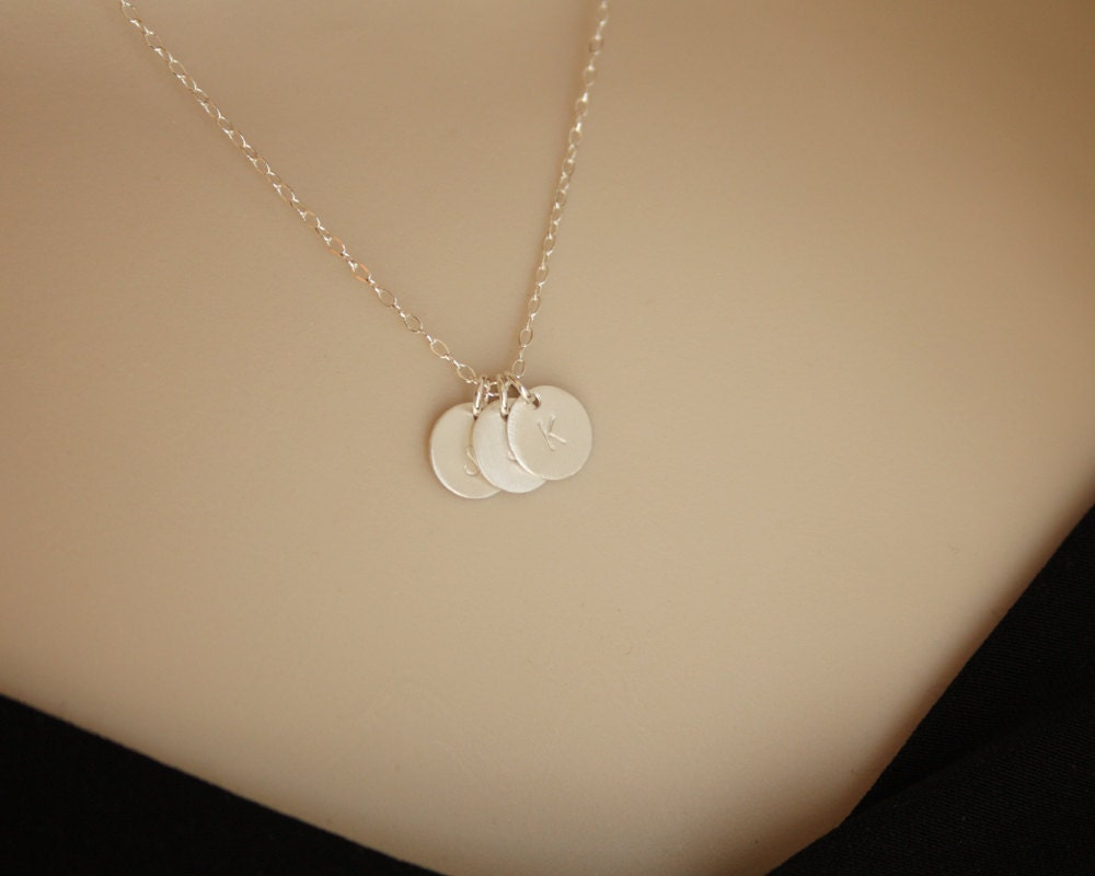 personalized three initials necklace sterling silver disc
