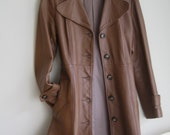 Leather Trench-coat - Vintage 60s 70s Coat Chestnut Brown S Small