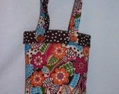 Girl's Tote Bag Retro Bright Flowers and Polka Dots