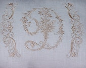 Linen Pillow Cover Embroidered Victorian Monogram Made to Order