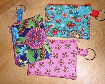 Zipper Pouch Coin Purse Key Ring Cotton Fabric Zipper Pouch Cosmetic Bag Purse Organizer