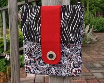 Cross Body Bag Black White Red Paisley Tablet Handbag I-Pad Bag