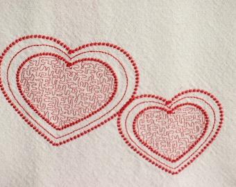 Embroidered Kitchen Towels Hearts Love Wedding Shower Anniversary