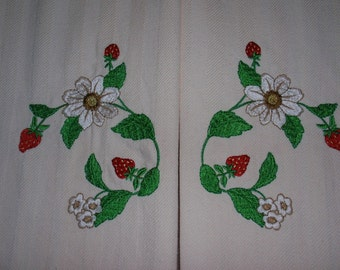 Strawberry Blossom Embroidered Cotton Towels Set of Two