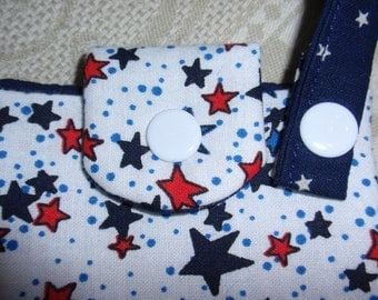 Small Gadget Bag, Cotton Fabric Quilted Pouch, Red White and Blue Stars, Sugar Substitute Pouch, Tissue Pouch, Tag-Along Pouch