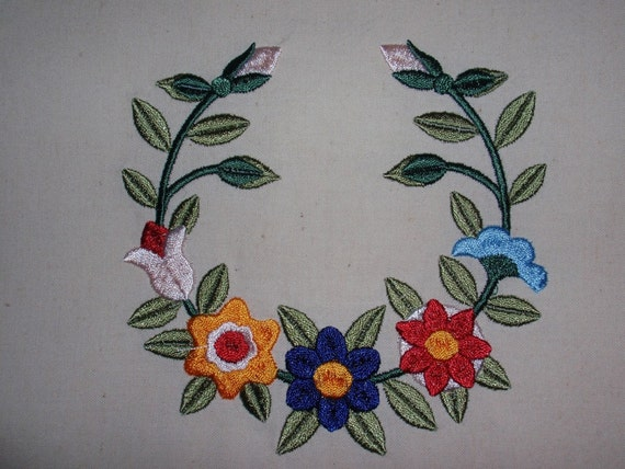 Items similar to floral wreath embroidery quilt block