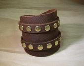 Leather Cuff Dark Red Leather & Brass Fittings