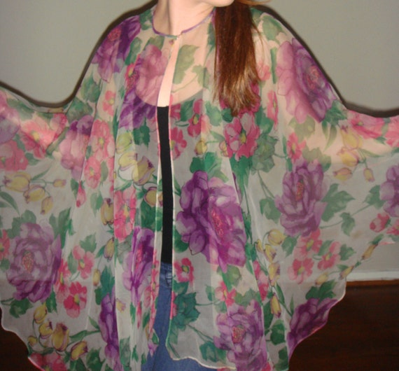 RESERVED - SALE - was 20 - vintage flower cape