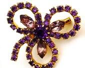 purple brooch /  60s rhinestone brooch /  mid century clover brooch