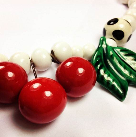 cherry necklace by flying colors  /  cherry statement necklace  /   whimsical resort